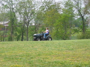 Learning to ride….the lawnmower